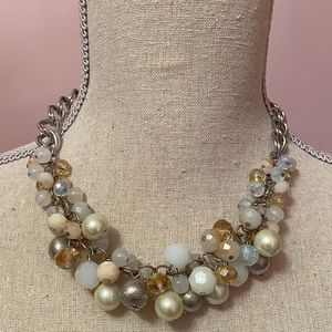 Heavy Cluster Jewel Beaded Faux  Necklace